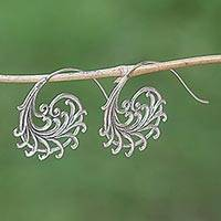 Sterling silver drop earrings, 'Dancing Fronds' - Hand Made Sterling Silver Drop Earrings from Indonesia
