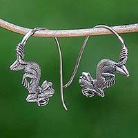 Sterling silver drop earrings, 'Reposing Monkey'