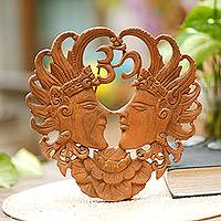 Wood wall panel, 'Jayaprana and Layonsari' - Lovers Decorative Wall Panel Handmade in Indonesia