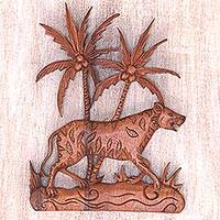 Wood wall panel, 'Sumatran Tiger' - Tiger Decorative Wall Panel Handmade in Indonesia