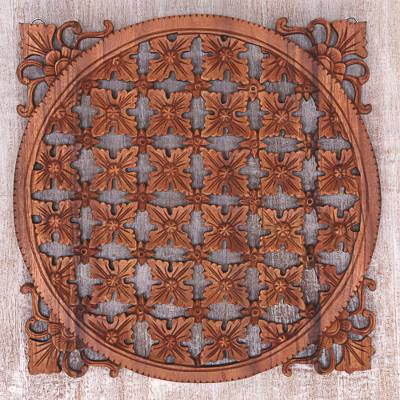 Wood wall relief panel, 'Padma Tile' - Floral Decorative Wall Panel Handmade in Indonesia