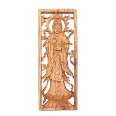 Wood relief panel, 'Enlightened Kwan Im' - Natural Suar Wood Relief Panel Kwan Im Buddhist Goddess
