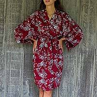Batik rayon robe, 'Gorgeous in Claret' - Grey Batik Bali Flowers on Claret Color Rayon Short Robe