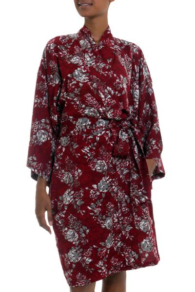 Grey Batik Bali Flowers on Claret Color Rayon Short Robe
