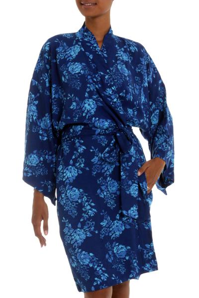 Blue Batik Flowers Balinese Rayon Short Cross Over Robe