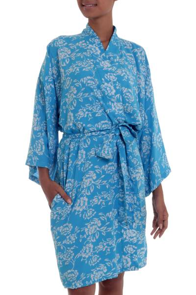 Balinese Rayon Short Cross Over Robe Blue Batik Flowers