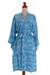 Batik rayon robe, 'Gorgeous in Cerulean' - Balinese Rayon Short Cross Over Robe Blue Batik Flowers (image 2d) thumbail