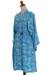 Batik rayon robe, 'Gorgeous in Cerulean' - Balinese Rayon Short Cross Over Robe Blue Batik Flowers (image 2e) thumbail