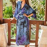 Rayon robe, 'Wild Blues' - Handmade Tie Dye Blue Rayon Robe from Indonesia