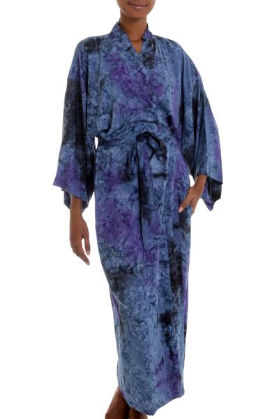 Handmade Tie Dye Blue Rayon Robe from Indonesia