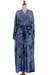 Rayon robe, 'Wild Blues' - Handmade Tie Dye Blue Rayon Robe from Indonesia (image 2f) thumbail