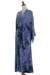 Rayon robe, 'Wild Blues' - Handmade Tie Dye Blue Rayon Robe from Indonesia (image 2g) thumbail