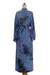 Rayon robe, 'Wild Blues' - Handmade Tie Dye Blue Rayon Robe from Indonesia (image 2h) thumbail