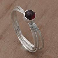 Garnet solitaire ring, 'Magical Force' - Bali Hand Crafted Sterling Silver and Garnet Solitaire Ring