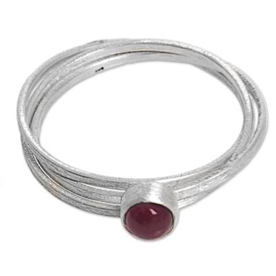 Bali Hand Crafted Sterling Silver and Garnet Solitaire Ring