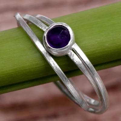 Amethyst solitaire ring, 'Magical Force in Purple' - Hand Made Amethyst and Sterling Silver Solitaire Ring