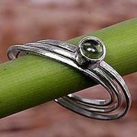 Peridot solitaire ring, 'Magical Force in Light Green' - Hand Made Indonesian Peridot Sterling Silver Solitaire Ring