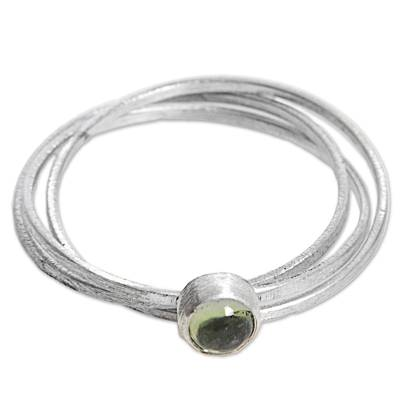 Hand Made Indonesian Peridot Sterling Silver Solitaire Ring