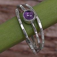 Amethyst solitaire ring, 'Magical Essence in Purple'