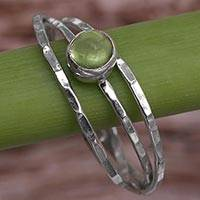 Peridot solitaire ring, 'Magical Essence in Light Green'