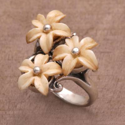 Bone cocktail ring, 'Plumeria Blooms' - Bone Sterling Silver Floral Cocktail Ring Handmade Indonesia