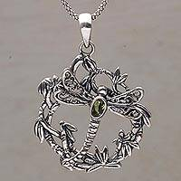 Peridot pendant necklace, 'Dancing Dragonfly' - Peridot and 925 Silver Dragonfly Pendant Necklace from Bali