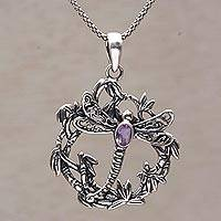 Amethyst pendant necklace, 'Dancing Dragonfly' - Amethyst and Sterling Silver Dragonfly Necklace from Bali