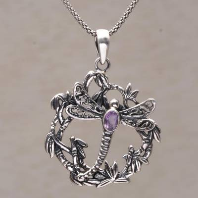 4a5469370726 Amethyst and Sterling Silver Dragonfly Necklace from Bali, 'Dancing  Dragonfly'