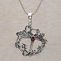 Garnet pendant necklace, 'Dancing Dragonfly' - Garnet and Sterling Silver Dragonfly Necklace from Bali