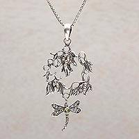 Peridot pendant necklace, 'Hunting Dragonfly' - Peridot and Sterling Silver Dragonfly Necklace from Bali