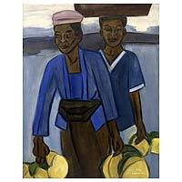 'Coconut Harvest' - Modern Oil on Canvas Portrait of Indonesian Women