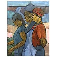 'Selling in Hats' - Original Oil Painting of Bali Merchant Women