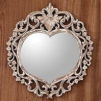 Wood wall mirror, 'Wild Heart' - Hand Carved Wood Heart Shaped Wall Mirror from Indonesia