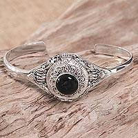 Onyx locket cuff bracelet, 'Dark Door' - Onyx Sterling Silver Locket Cuff Bracelet Indonesia