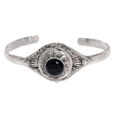 Onyx locket cuff bracelet, 'Dark Door' - Onyx Sterling Silver Locket Cuff Bracelet Indonesia