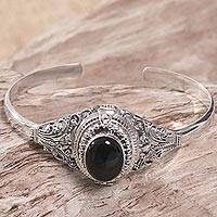 Onyx locket cuff bracelet, 'Deep Gaze'