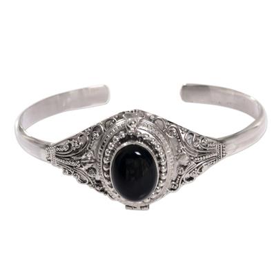 Onyx locket cuff bracelet, 'Deep Gaze' - Onyx and Sterling Silver Cuff Locket Bracelet Indonesia