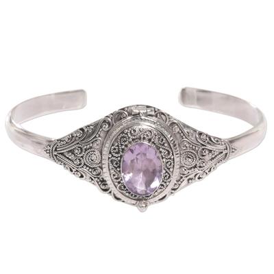 Amethyst locket cuff bracelet, 'Watchful Eye' - Hand Made Amethyst Sterling Silver Cuff Bracelet Indonesia