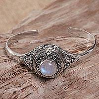 Rainbow moonstone locket cuff bracelet, 'Moon Door' - Rainbow Moonstone Sterling Silver Cuff Bracelet Indonesia