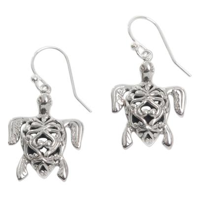Sterling silver dangle earrings, 'Radiant Turtles' - Sterling Silver Turtle Earrings with Enticing Shell Design