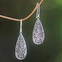 Sterling silver dangle earrings, 'Tamiang Drop'