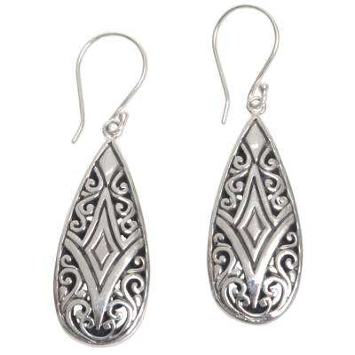 Sterling silver dangle earrings, 'Tamiang Drop' - Brilliant Sterling Silver Earrings WIth Balinese Motifs