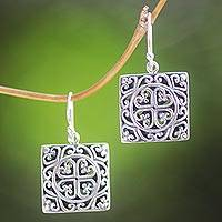 Sterling silver dangle earrings, 'Heart Cube' - Handmade Sterling Silver Dangle Heart Earrings from Bali