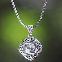 Sterling silver pendant necklace, 'Window to the Heart' - Handmade Sterling Silver Pendant Necklace from Bali