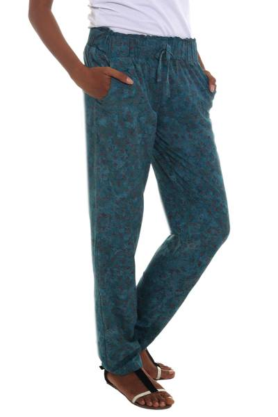 Rayon batik pant, 'Teal Floral' - Rayon Lightweight Pant with Floral Motifs from Indonesia