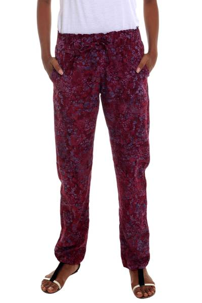 Rayon pants, 'Wine Floral' - Maroon Handmade Rayon Pants with Drawstring Waist