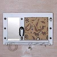 Wood wall mirror and jewelry rack, 'Bali Heritage in White' - Hand Made Wood Wall Mirror and Jewelry Rack White Indonesia