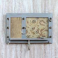 Wood wall mirror and jewelry rack, 'Bali Heritage in Grey' - Hand Made Wood Wall Mirror and Jewelry Rack Grey Indonesia