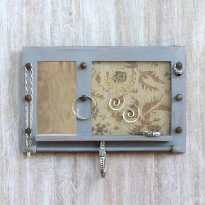 Wood wall mirror and jewelry rack, 'Bali Heritage in Grey' - Hand Made