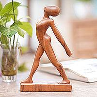 Wood statuette, 'Stretching Pose'